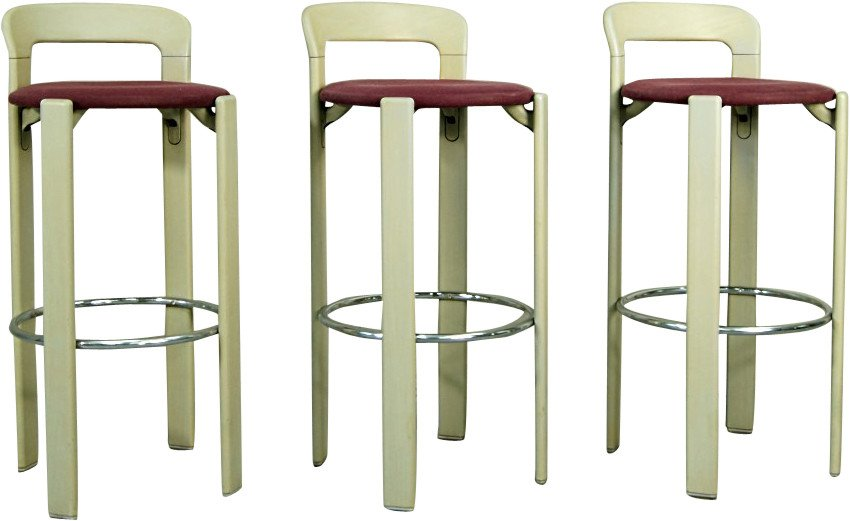 Set of Three Bar Stools by B. Rey, Kusch&Co, Germany, 1970s