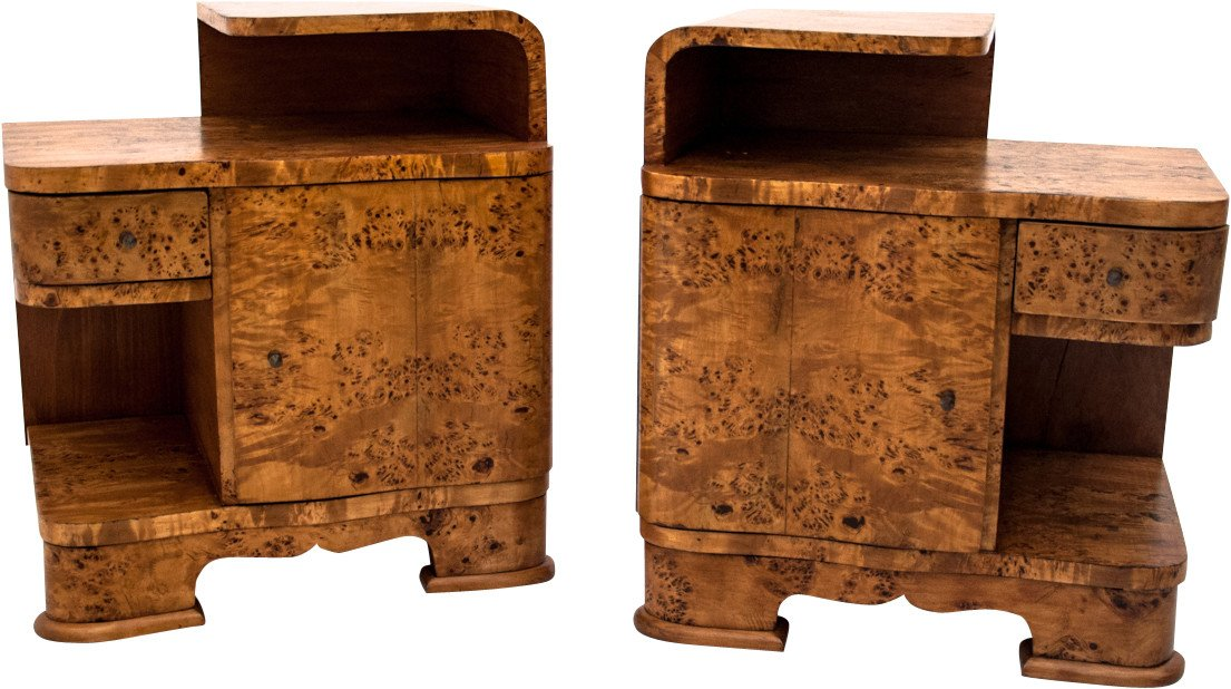 Pair of Nightstands, Poland, 1940s