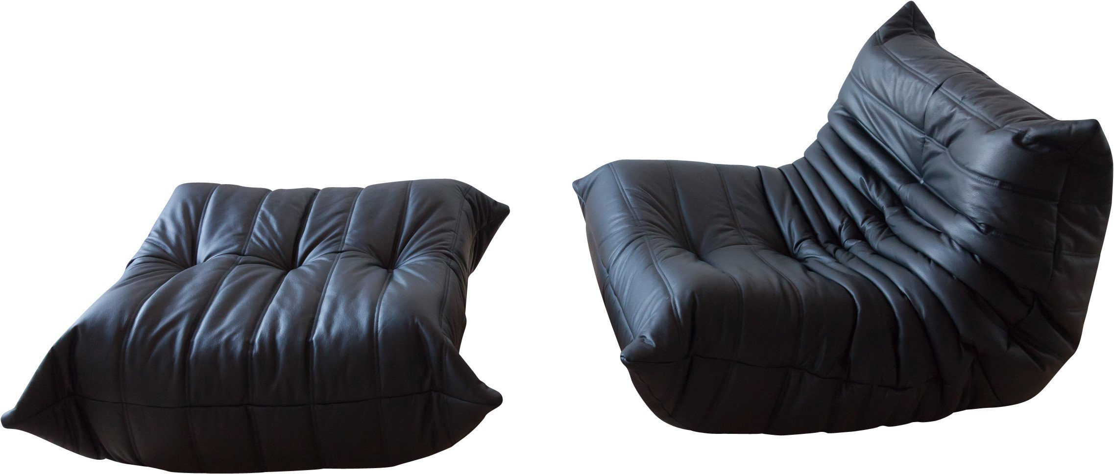 Set of Togo Lounge Chair and Pouf by M. Ducaroy for Ligne Roset, France, 1970s