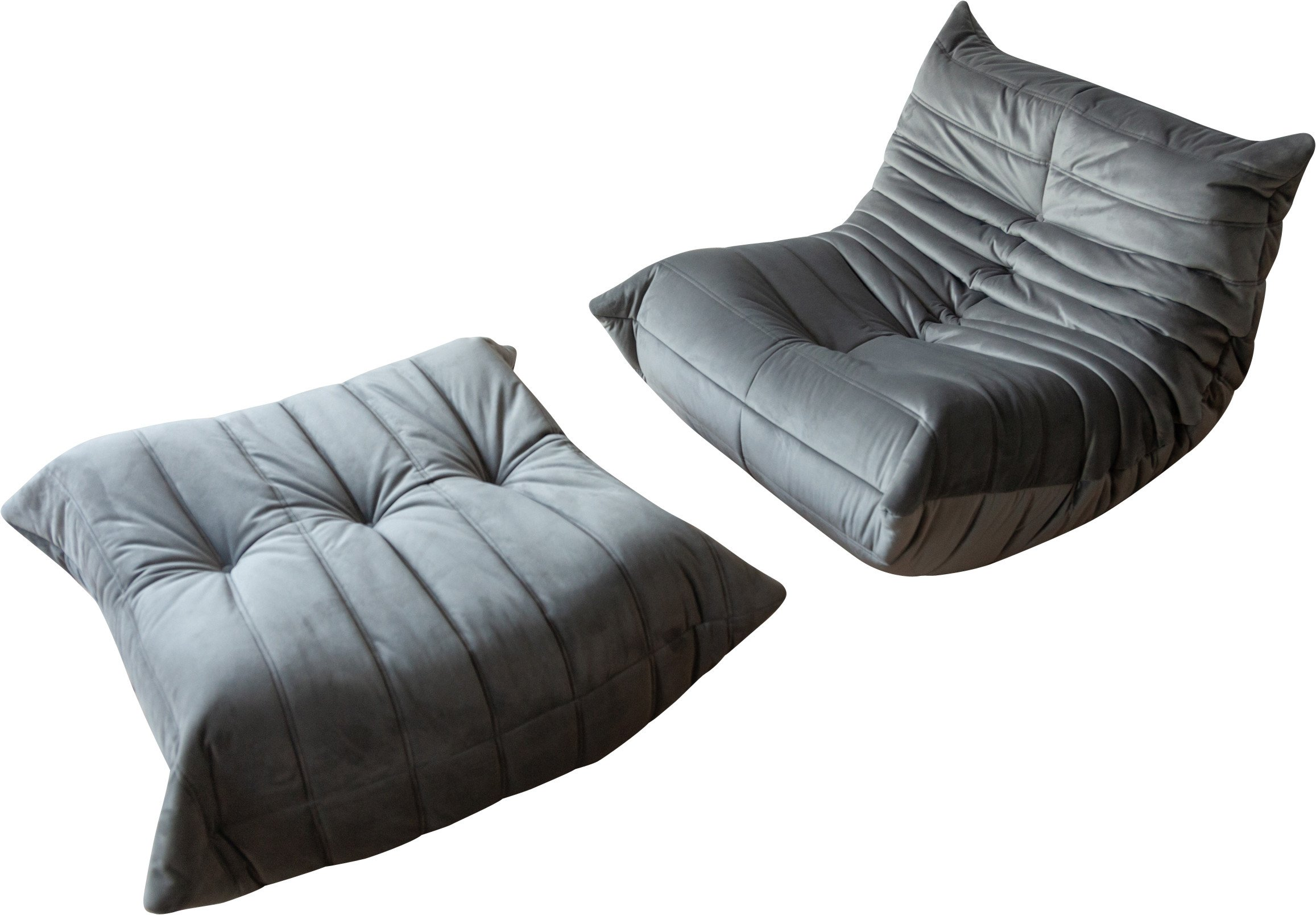 Togo Set of Armchair and Pouf by M. Ducaroy Manufactured, Ligne Roset, France, 1973
