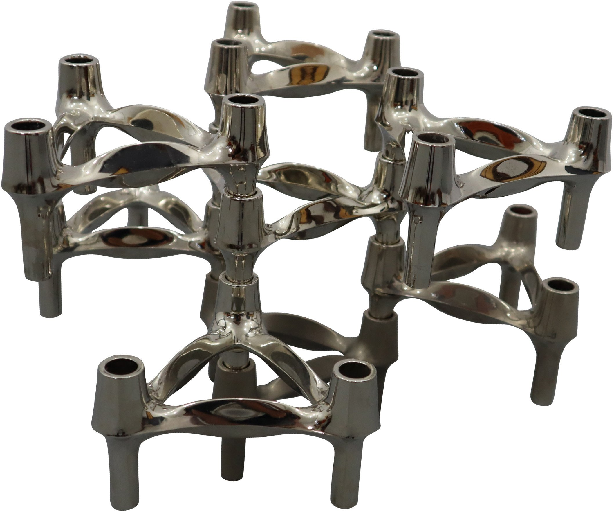 Set of Eight Modular Candleholders by W. Stoff & H. Nagel, BMF, 1970s