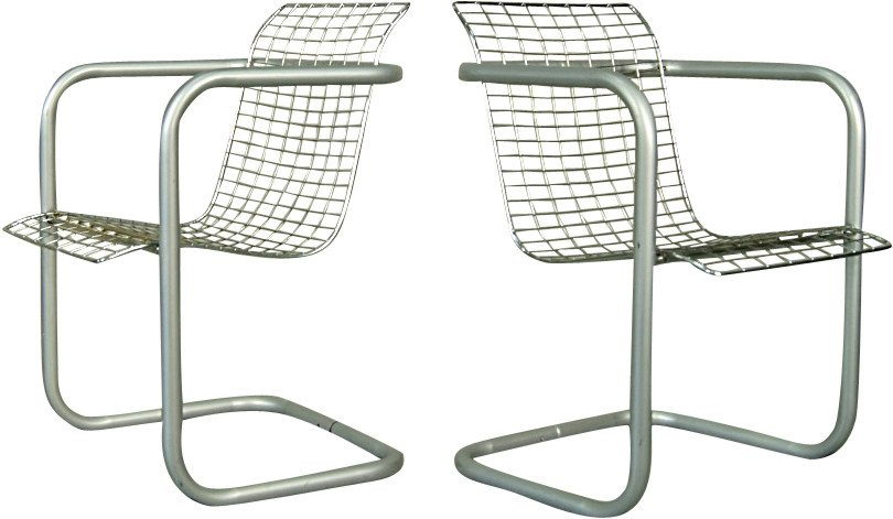 Pair of Chrome-plated Chairs, France, 1980s