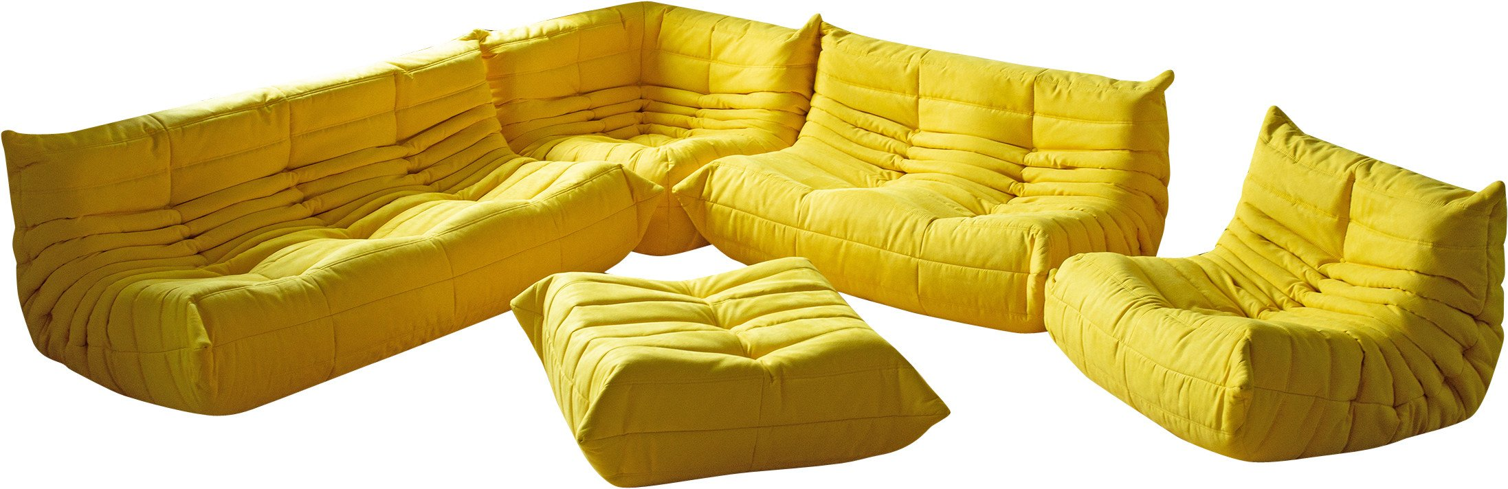 Set of Togo Sofas in Yellow Microfiber by M. Ducaroy, Ligne Roset, France, 1970s