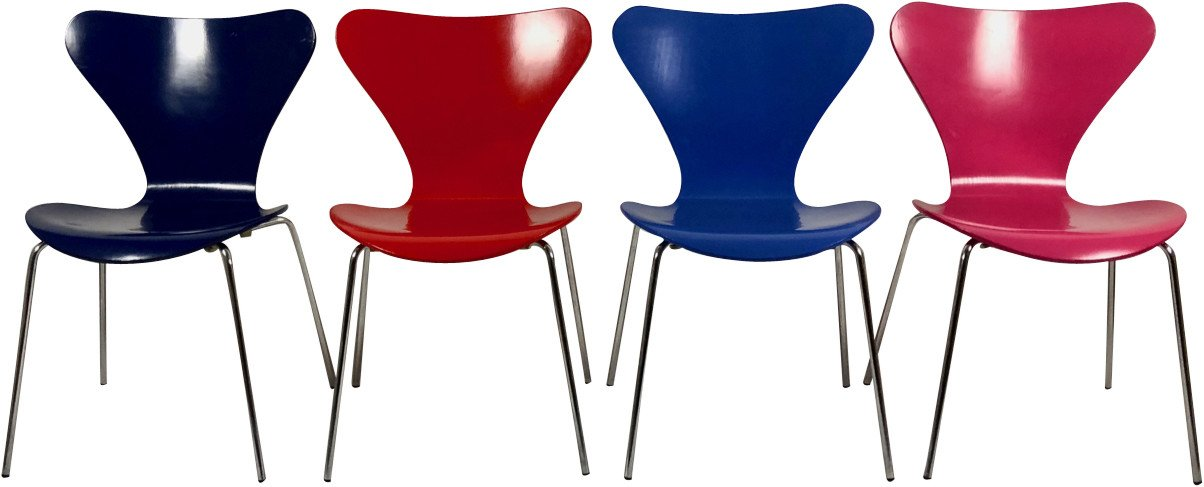 Set of Four Chairs by A. Jacobsen, Fritz Hansen, Denmark, 1990s