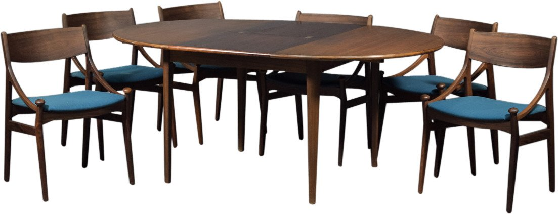 Table and Set of Six Chairs by V. Eriksen, Denmark, 1960s