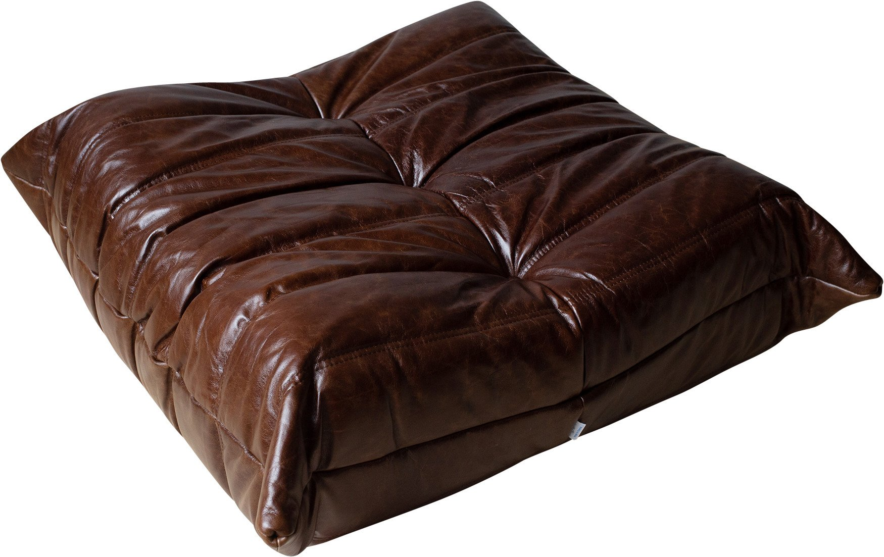 Togo Pouf in Dubai Brown Leather by M. Ducaroy, Ligne Roset, 1970s