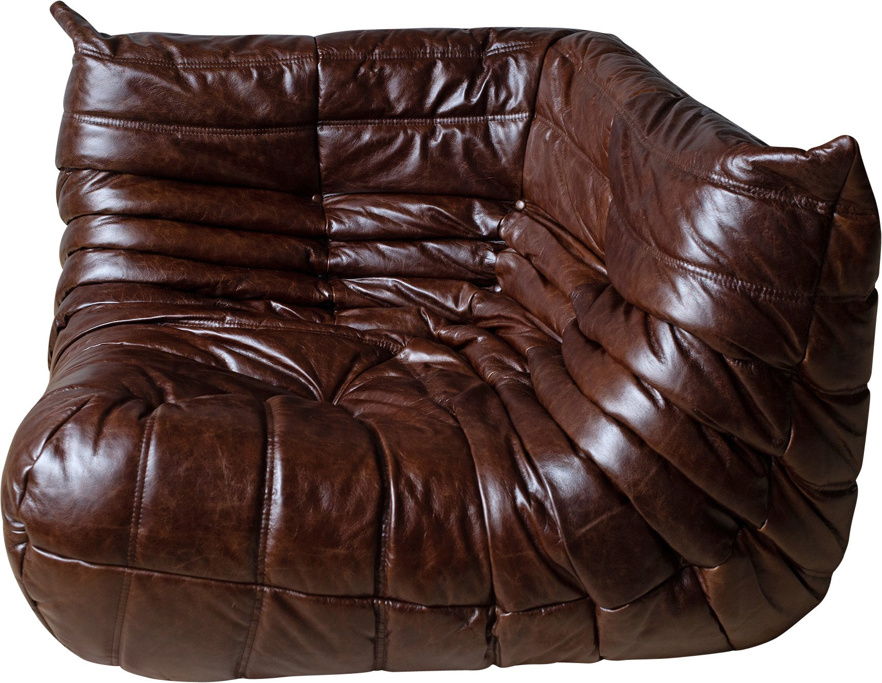 Togo Corner Couch in Madras Brown Leather by M. Ducaroy, Ligne Roset, France, 1970s