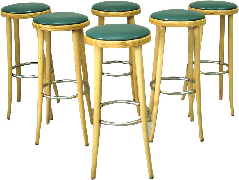 Set of Six Bar Stools, 1970s