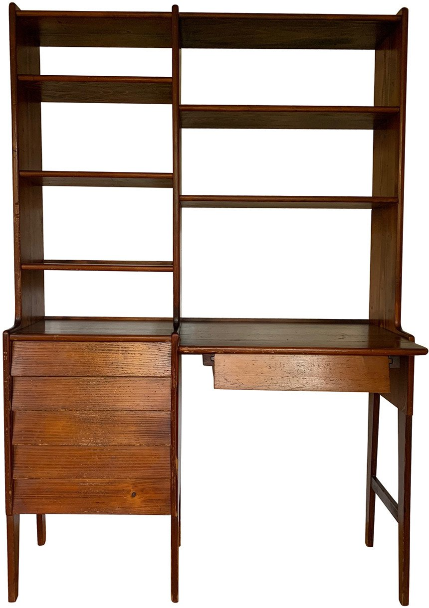 Bookcase with Desk by I. Sternińska, Cooperative of Artists ŁAD, Poland, 1960s