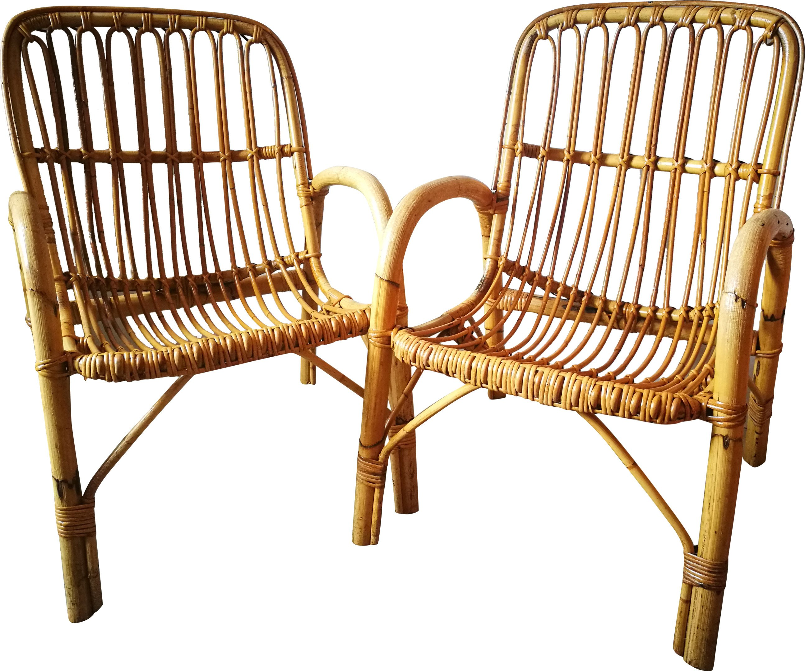 Pair of Bamboo Armchairs, 1970s
