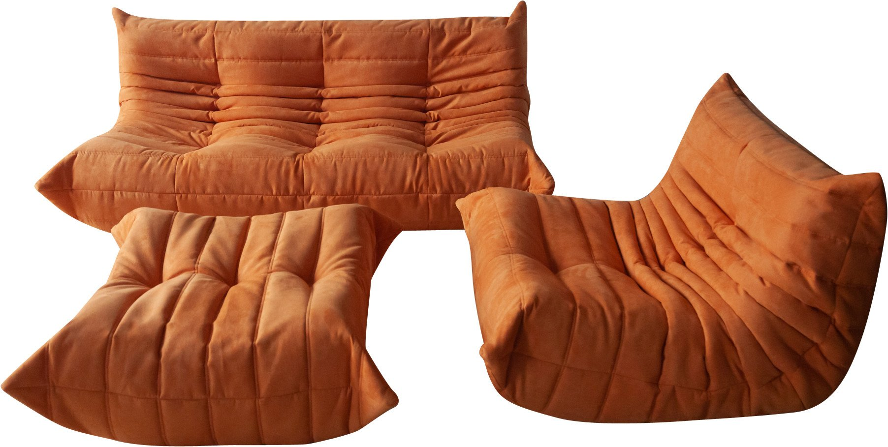 Togo Set of Armchair, Pouf and Sofa by M. Ducaroy for Ligne Roset, France, 1970s