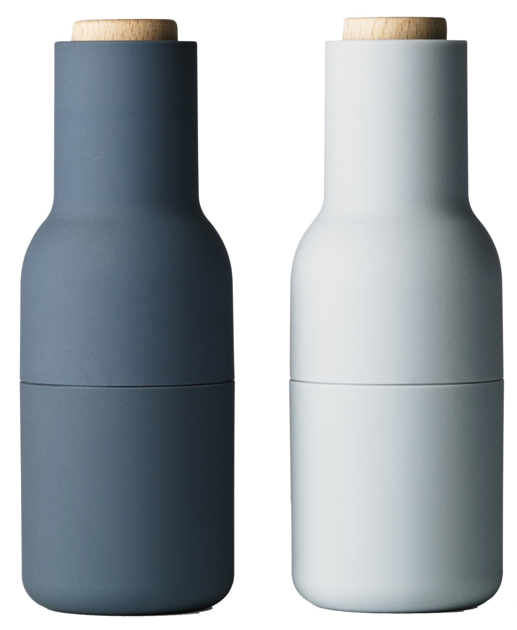 Set of Two Bottle Grinders Small Blues Beech, by Norm Architects for Menu