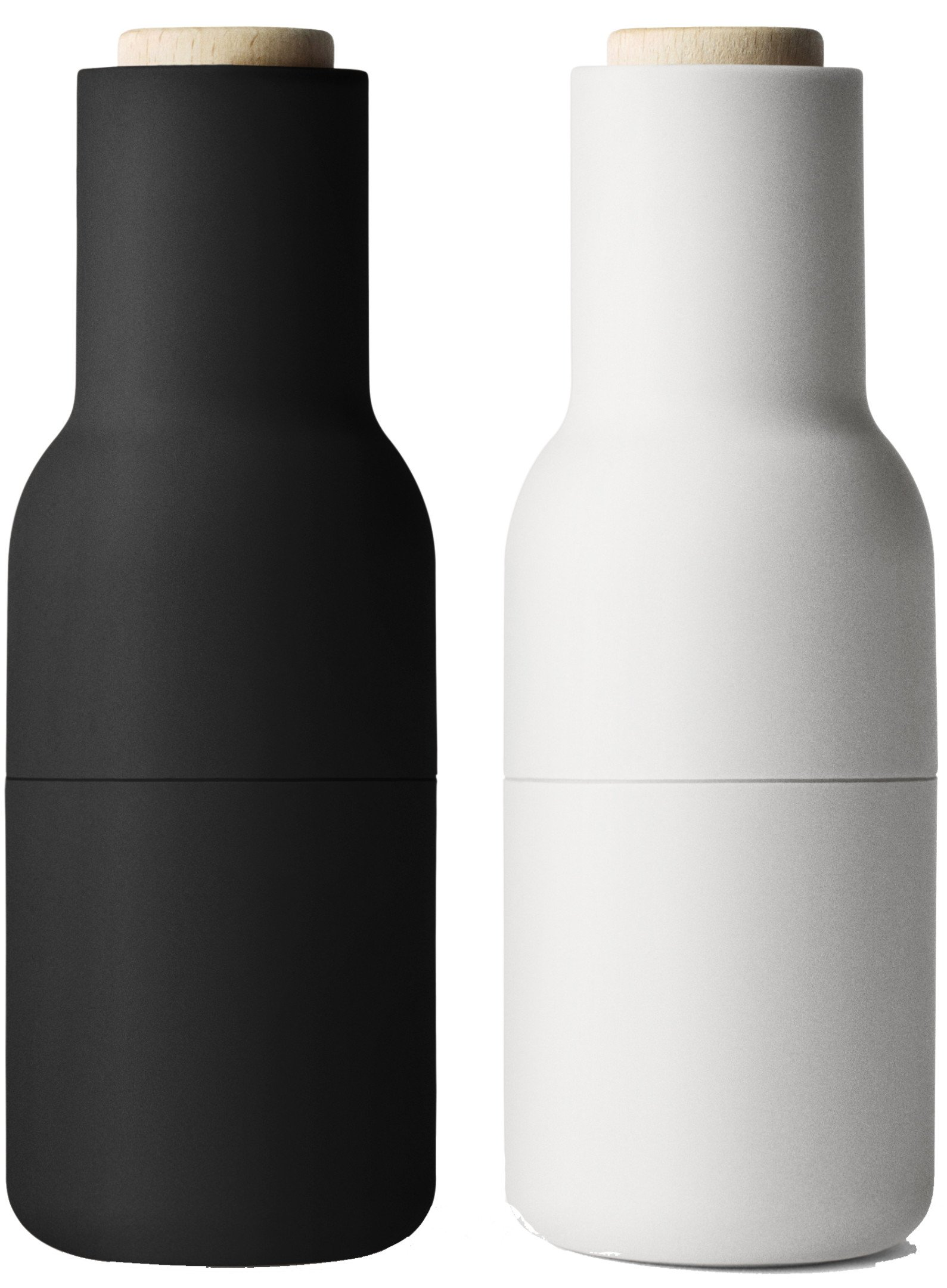 Set of Two Bottle Grinders Small Ash/Carbon Beech by Norm Architects for Menu