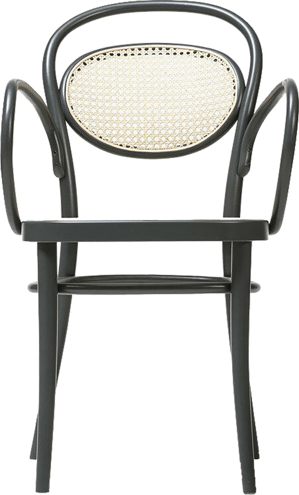 Black Grain 20 Armchair with Cane Rattan Seat, TON