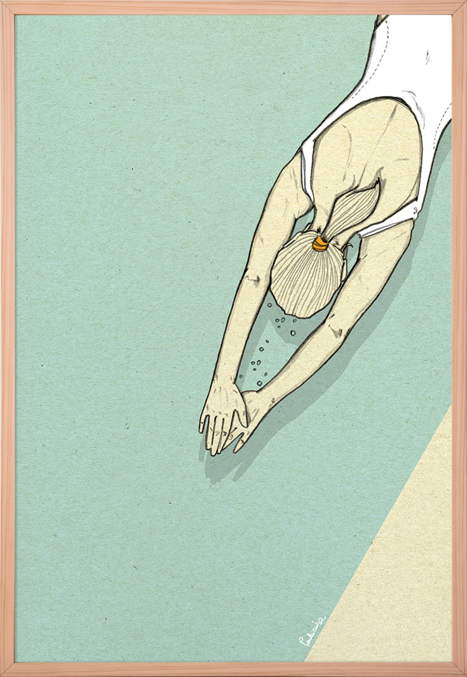 Poster Swimmer II 50x70 by M. Pankiewicz for Wall-being, Poland