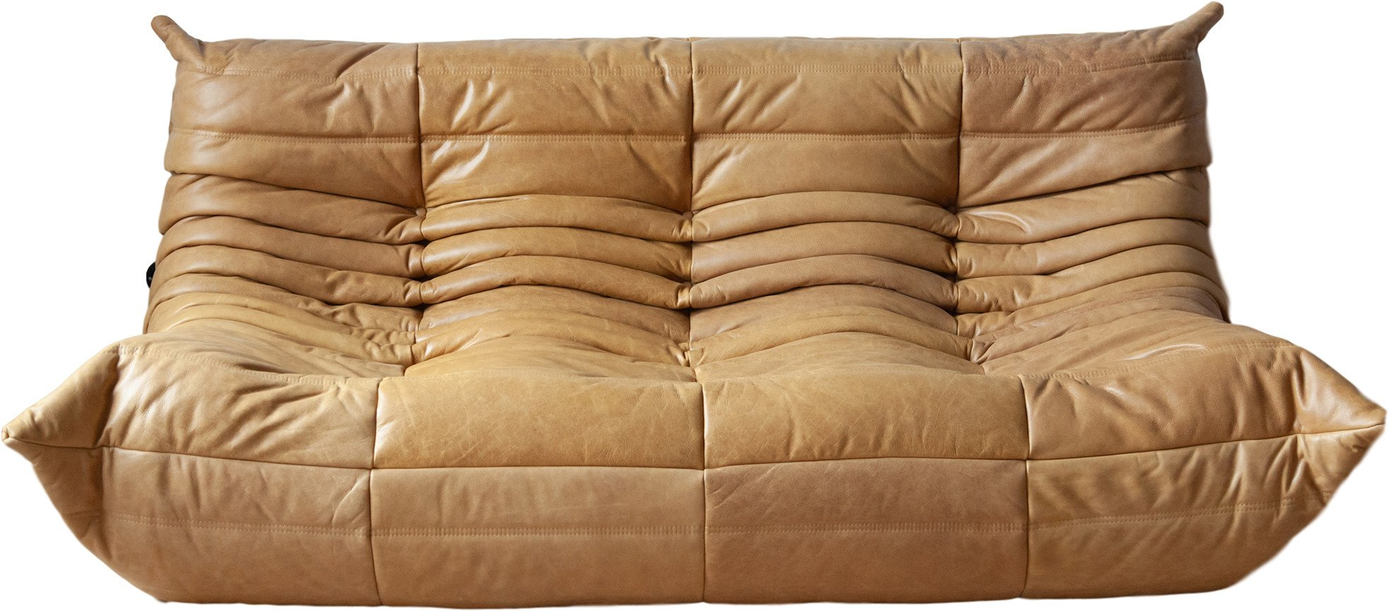 Togo sofa in Camel Brown Leather by M. Ducaroy, Ligne Roset, France, 1970s