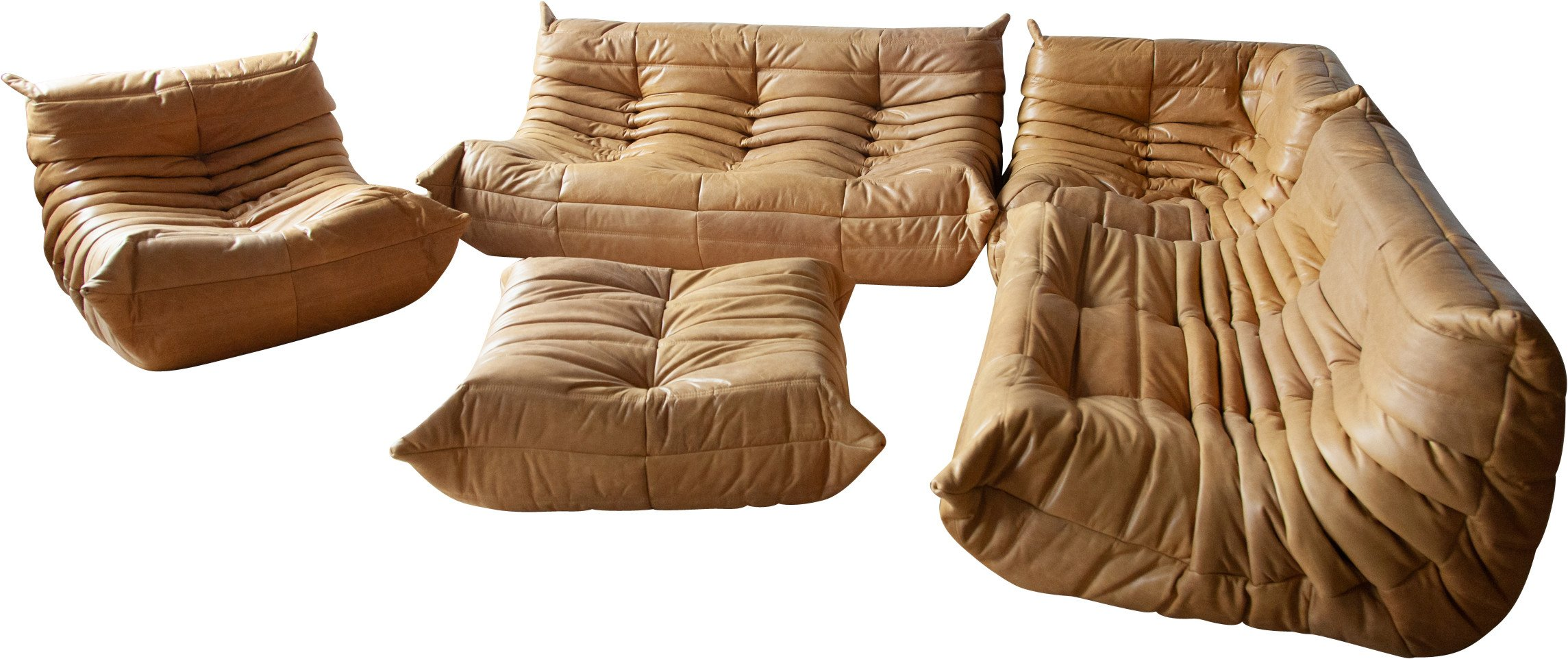 Togo five piece Set in Camel Leather by M. Ducaroy for Ligne Roset, France, 1970s