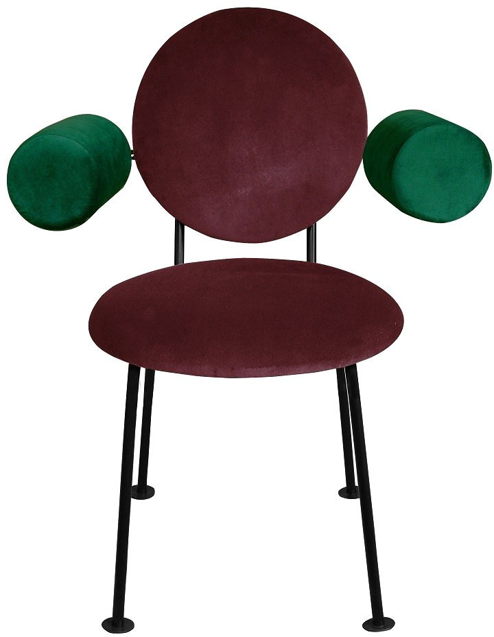 Violeta and Green Medallion Armchair by K. Jasyk for Happy Barok