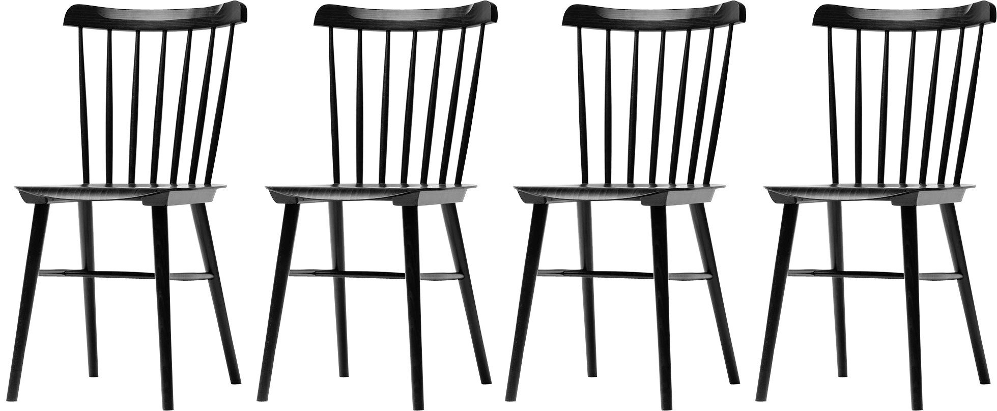 Set of Four Ironica Chair Black Beech, TON