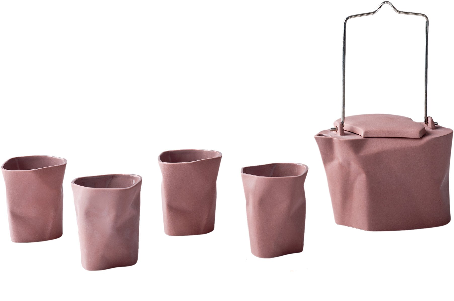 Pink Bent Tea set by Ćmielów Design Studio for Modus Design, Poland