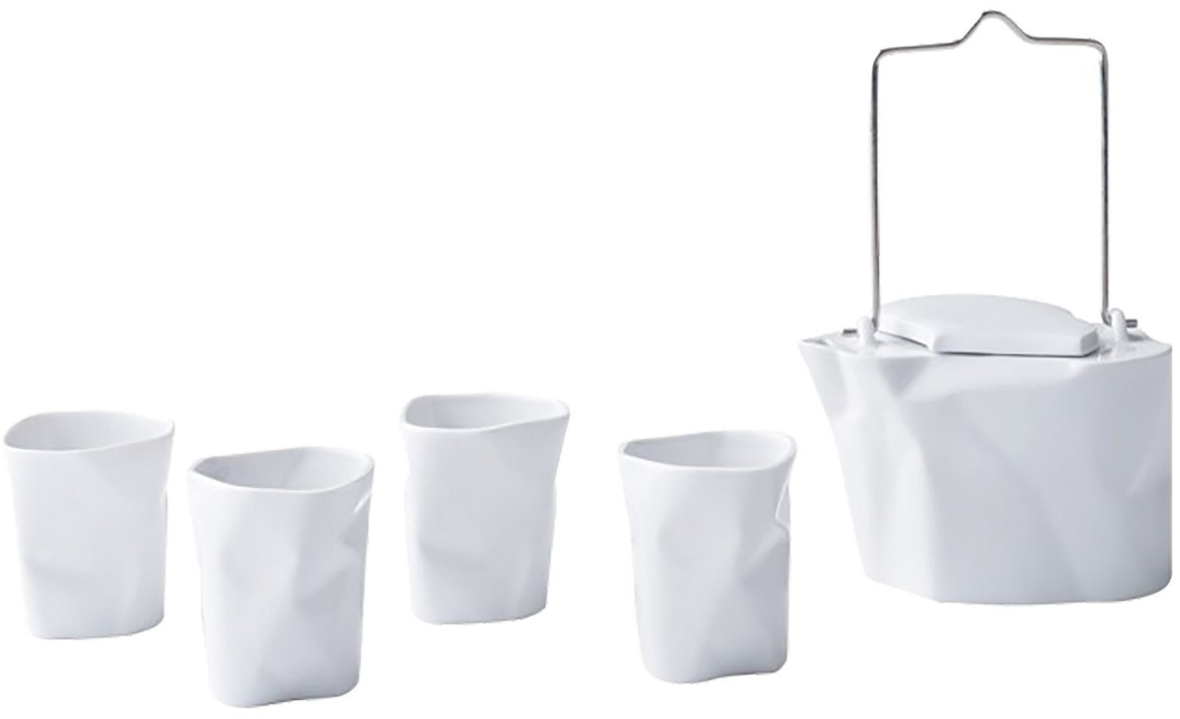 White Bent Tea Set by Ćmielów Design Studio for Modus Design, Poland