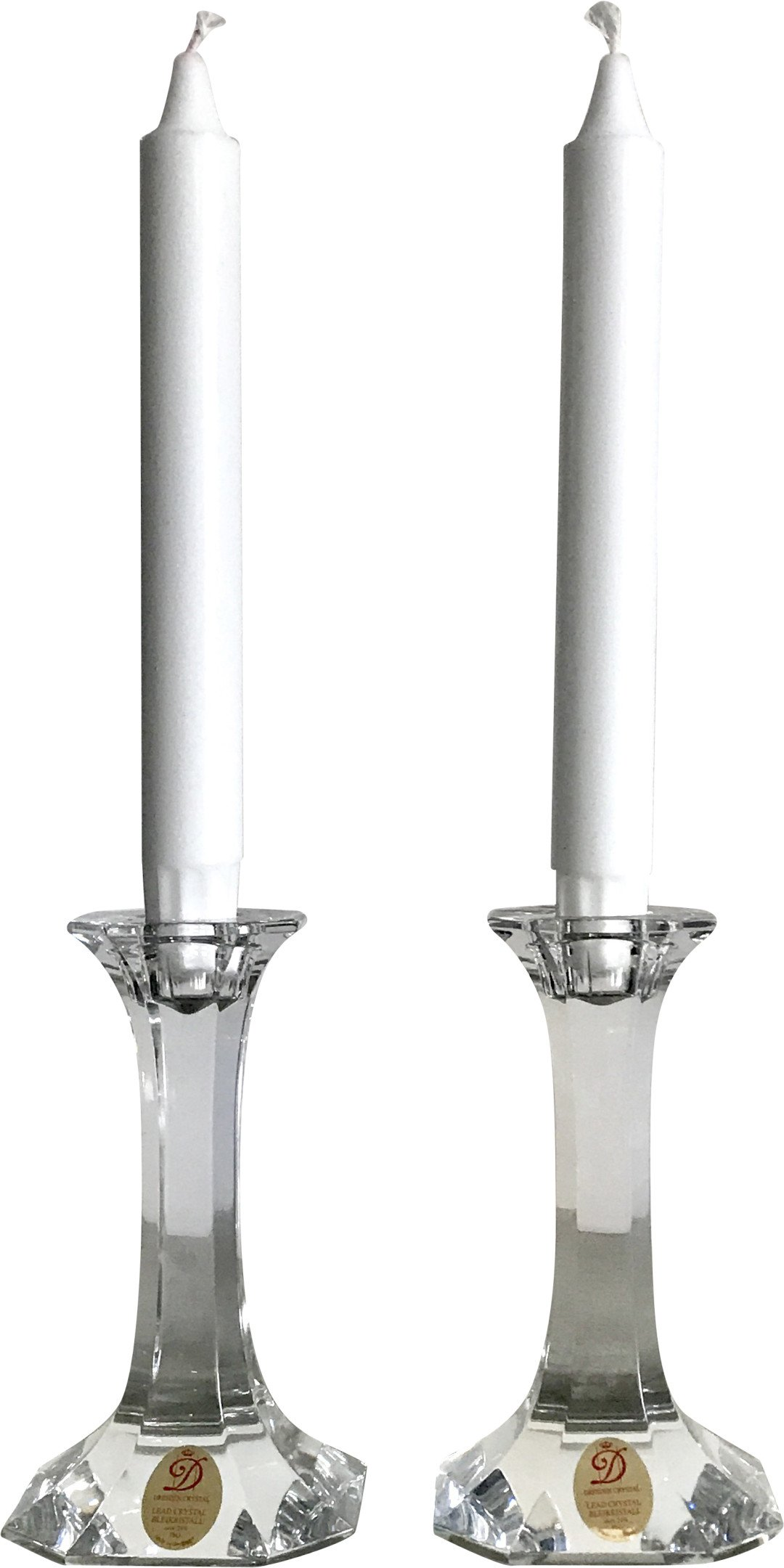 Pair of Crystal Candlesticks, Dresden Crystal, Germany, 1980s
