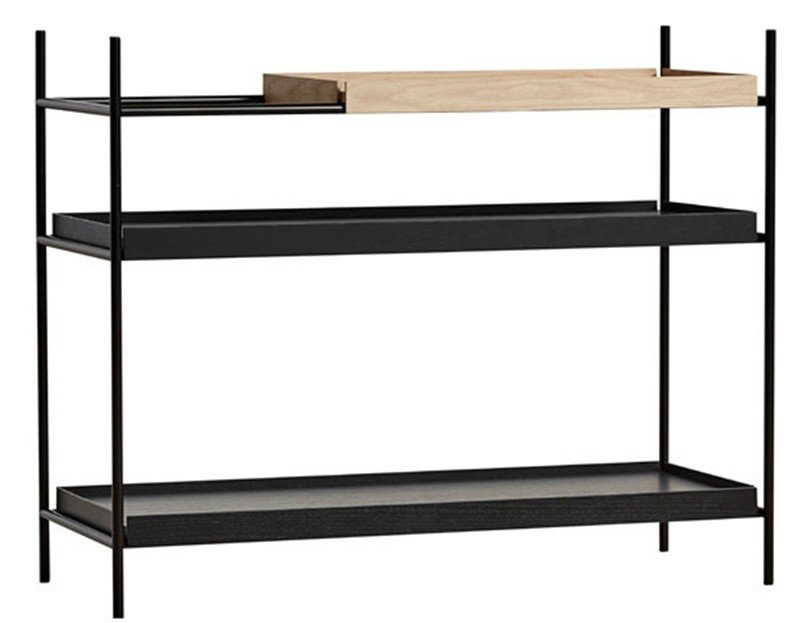 Oak/Black Low Tray Shelf by H. Willmann for WOUD