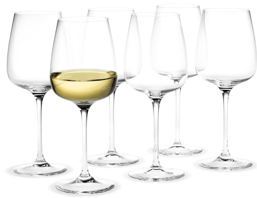 Set of Six White Wine Glases Bouquet by P. Svarrer for Holmegaard