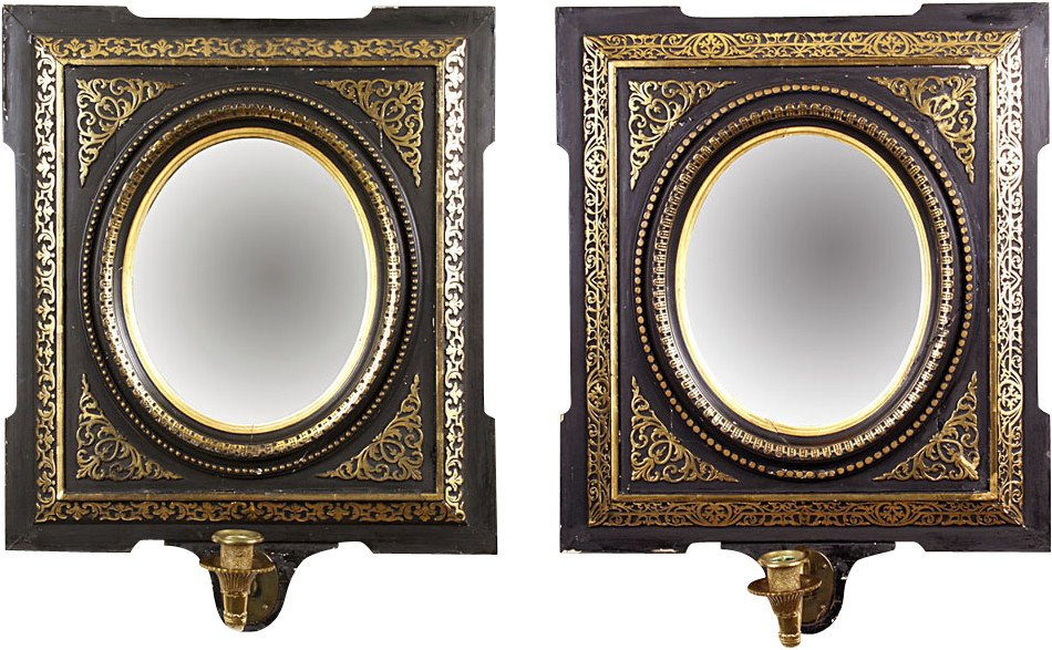 Pair of Candleholders with Mirrors, 19th c.