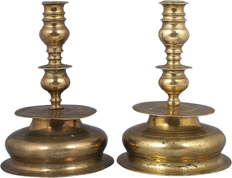 Pair of Baroque Candleholders, 17th c.