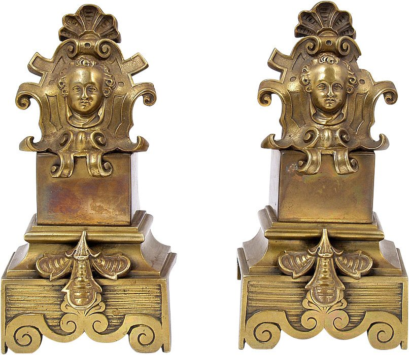 Pair of Fireplace Decorations, 19th c.