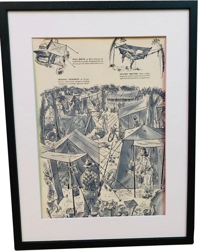 "Vintage press drawing ""Camping trip"""