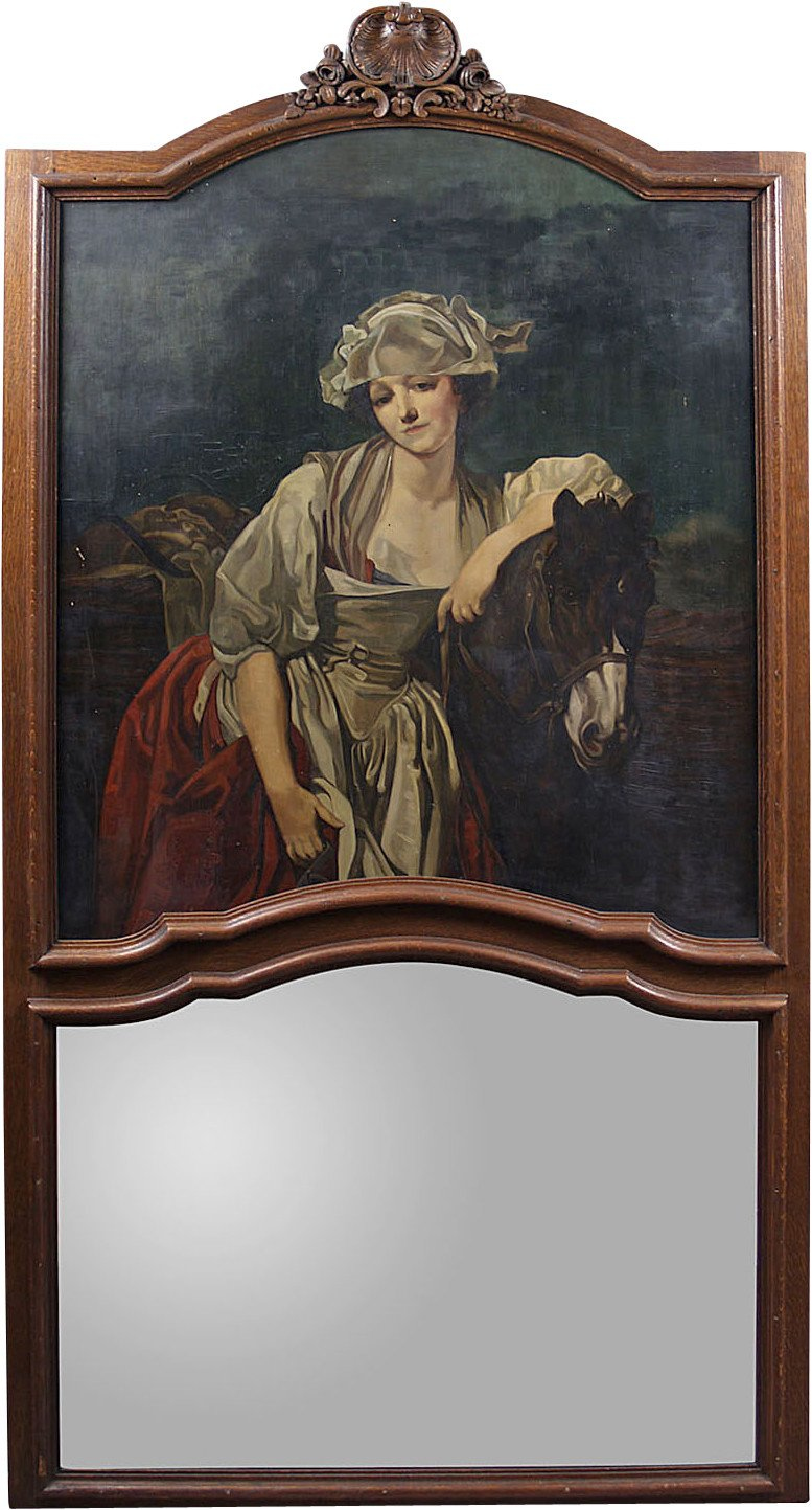 Mirror with Painting, early 20th c.