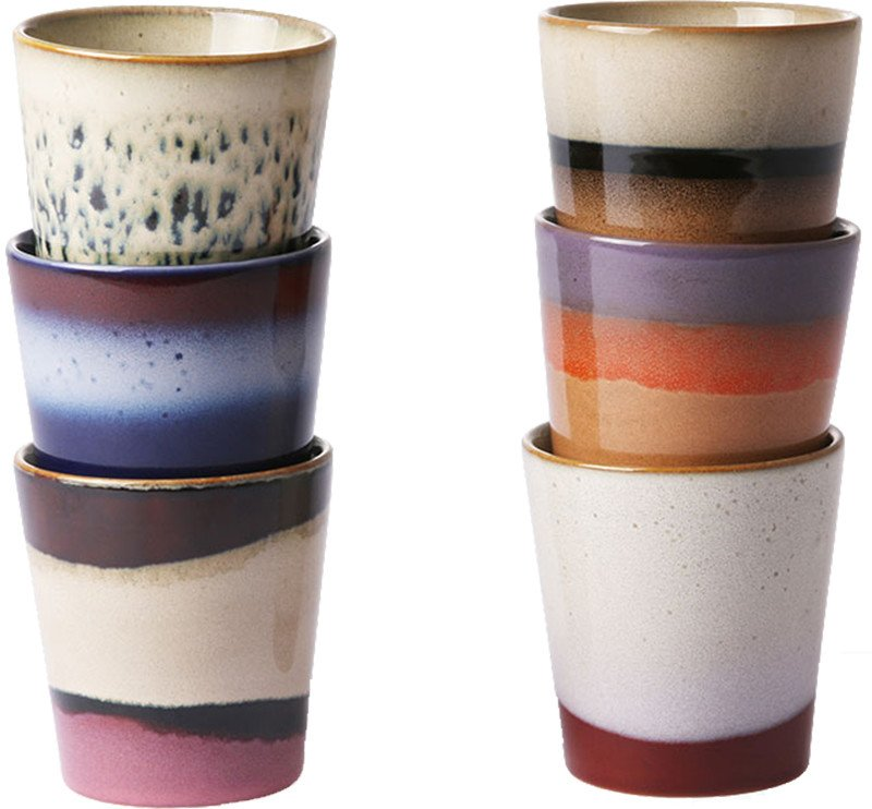 Set of Six Ceramic Cups 70's mix, HKliving