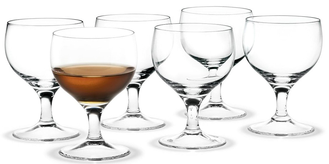 Set of Six Royal Port/Sherry Glasses by A. Jacobsen for Holmegaard