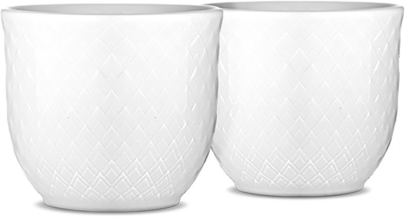 Pair of Rhombe White Egg Cups, Lyngyby Porcelain