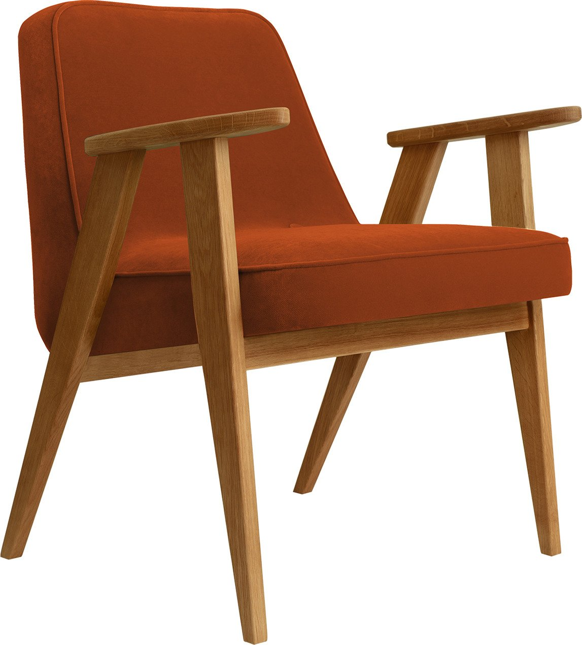 366 Armchair by Józef Chierowski, Red Brick (dark oak)