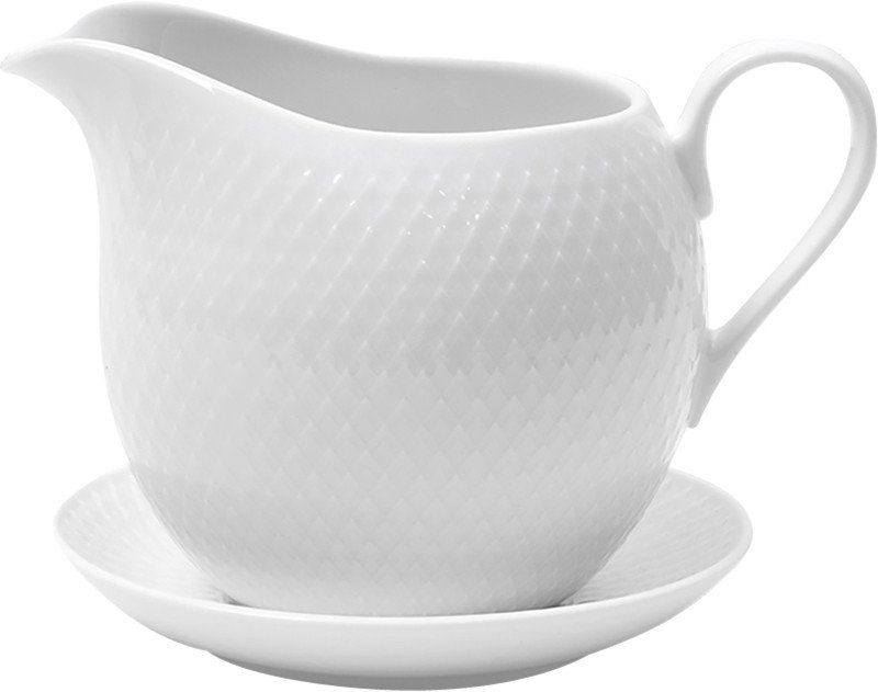Rhombe Sauceboat White, Lyngby Porcelæn