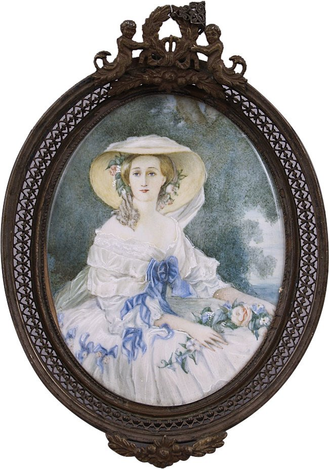 Miniature with A Portrait of A Woman, 19th C.