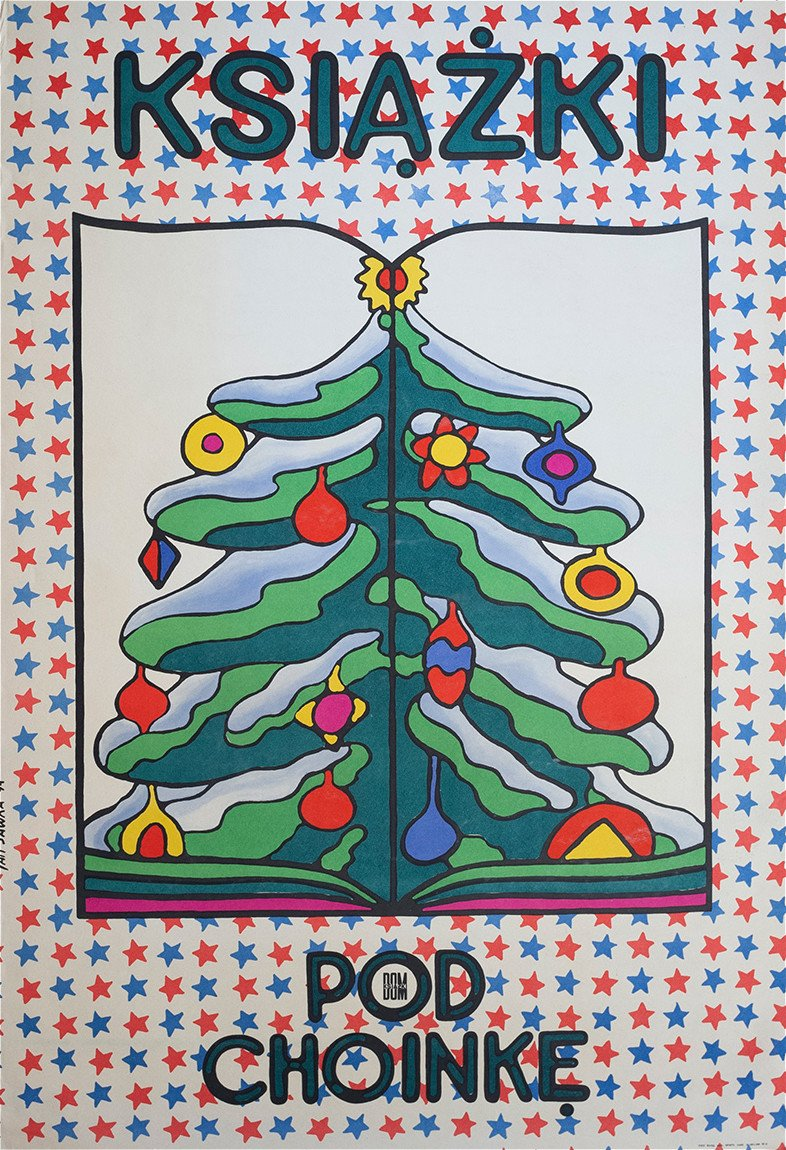 Poster Books under the Christmas tree 68 x 48 cm by J. Sawka, Poland, 1970s