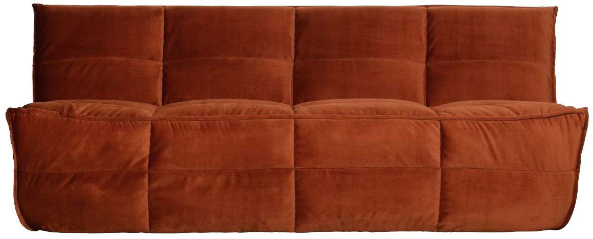 Cluster Sofa Red Velvet, Woood