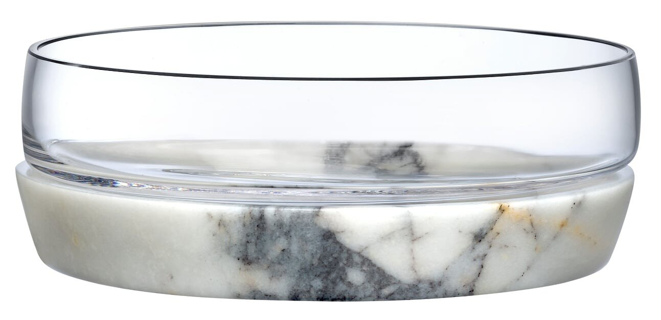 Bowl with Marble Base Chill L by Nude Glass