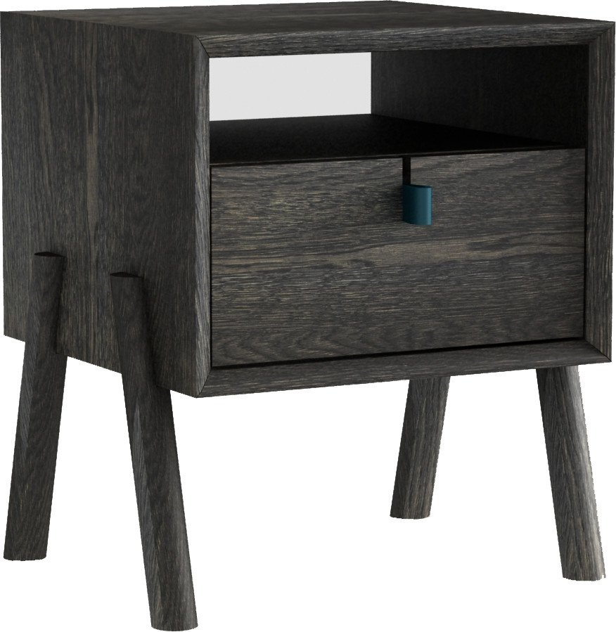 Amelia Nightstand Ebony Oak Oil Wax, Tamo