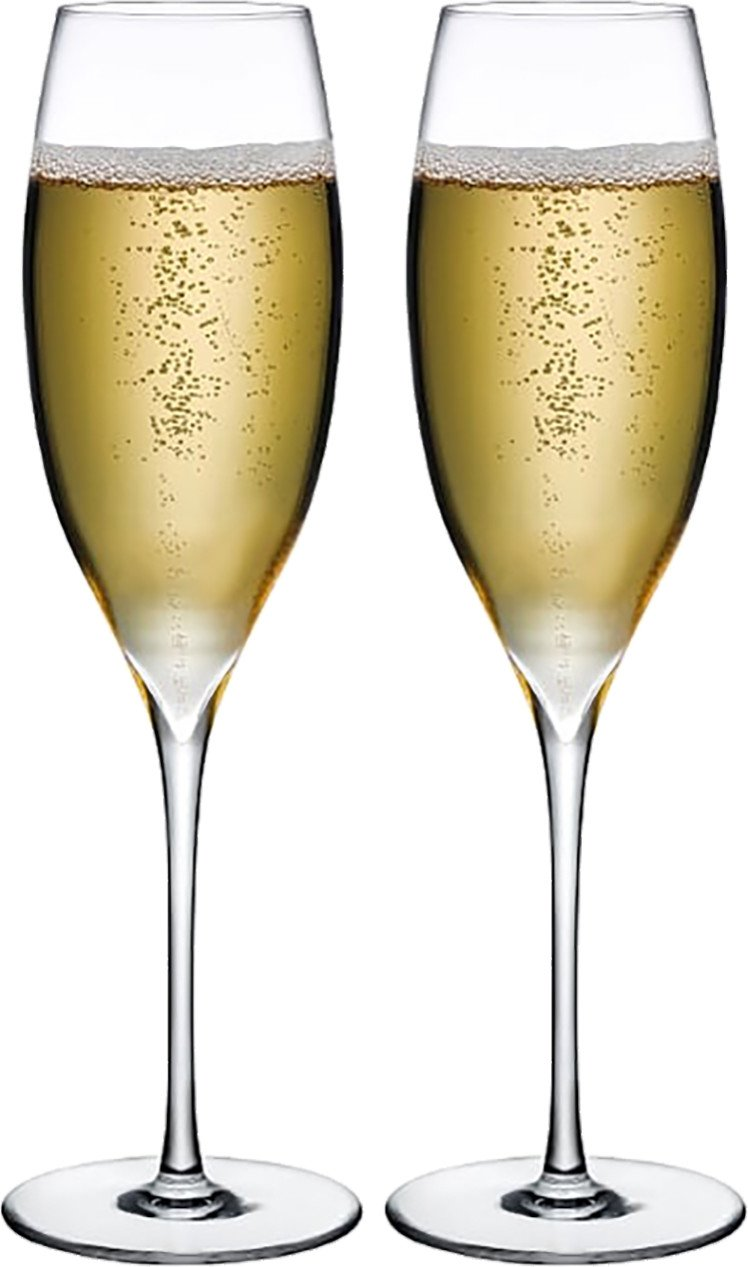 Pair of Dimple Champagne Glasses for Nude Glass