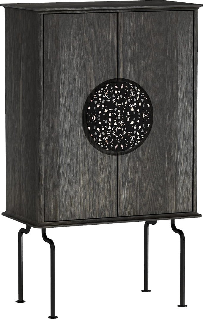 Febe Cabinet Ebony Oak Oil Wax + Black Handle, Tamo