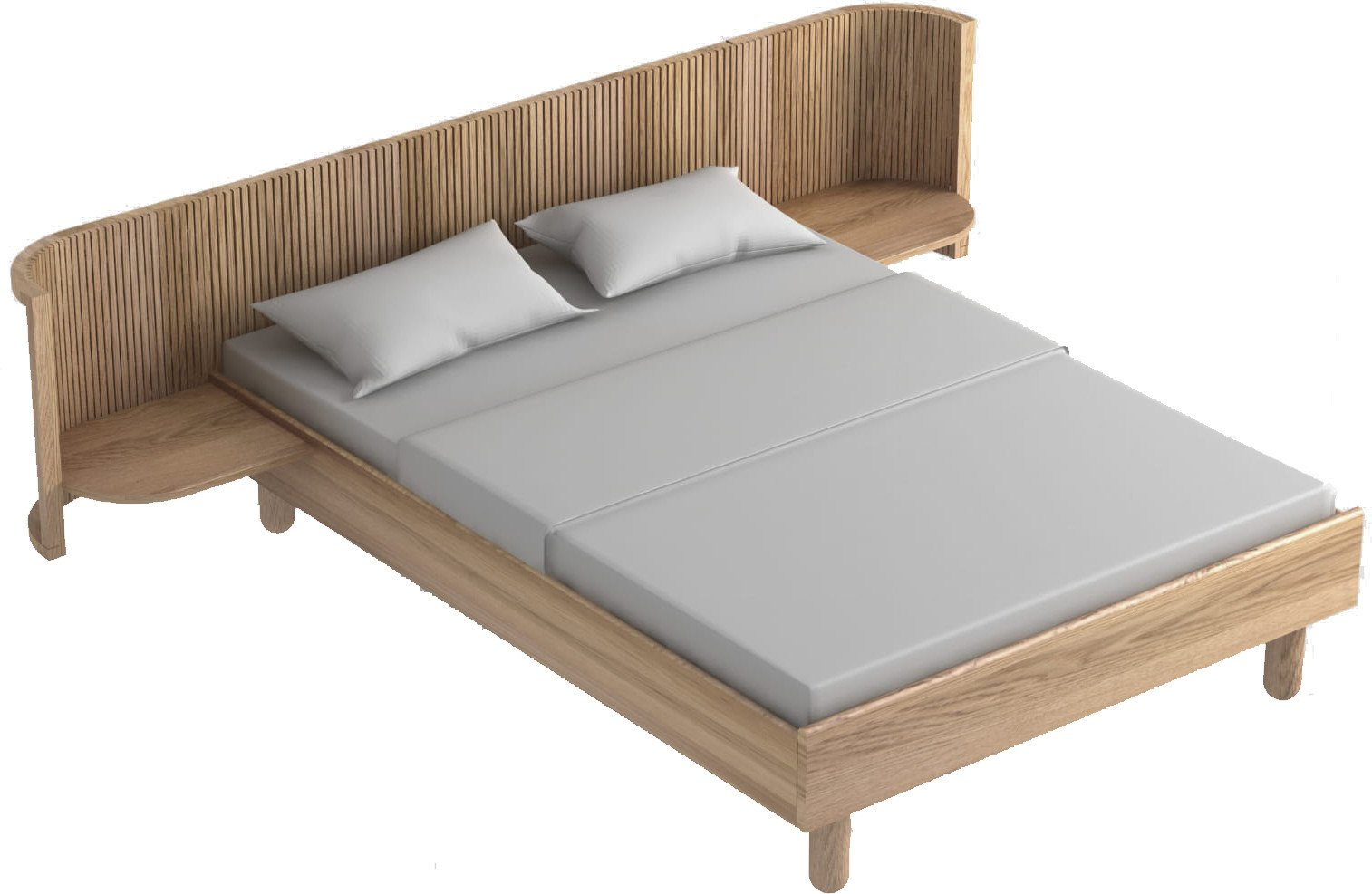 Hug Bed White Oak Oil Wax 140cm, Tamo