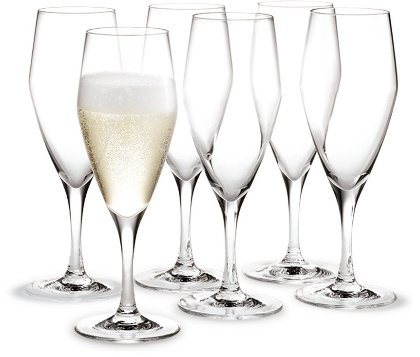 Set of Six Champagne Perfection Glasses by T. Nybroe for Holmegaard