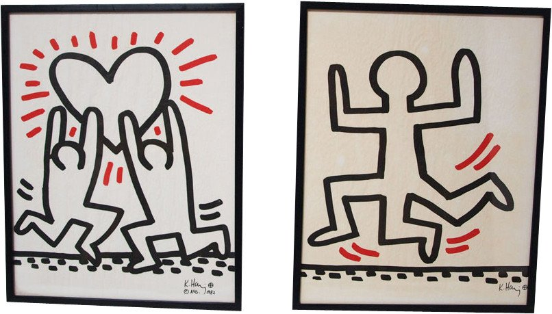 Pair of lithographs by K. Haring for Sali-Adalat-Bayer, 1980s