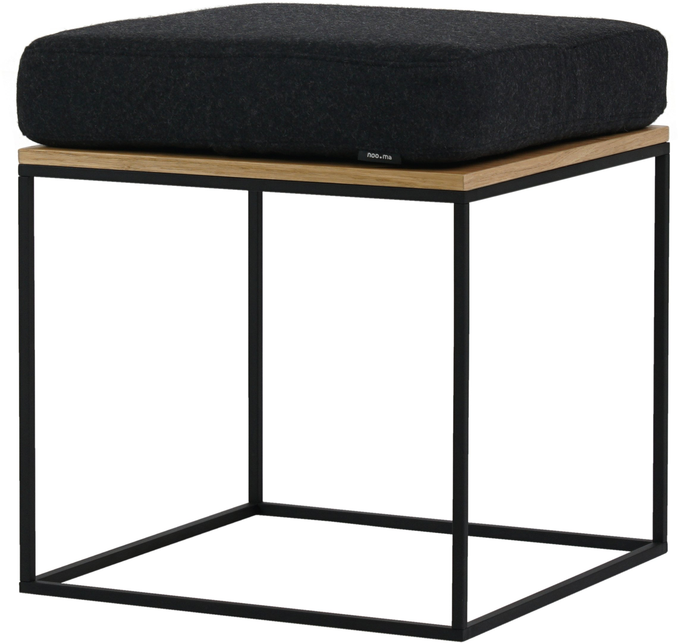 Feo Pouf Black with Oak Veneer, noo.ma