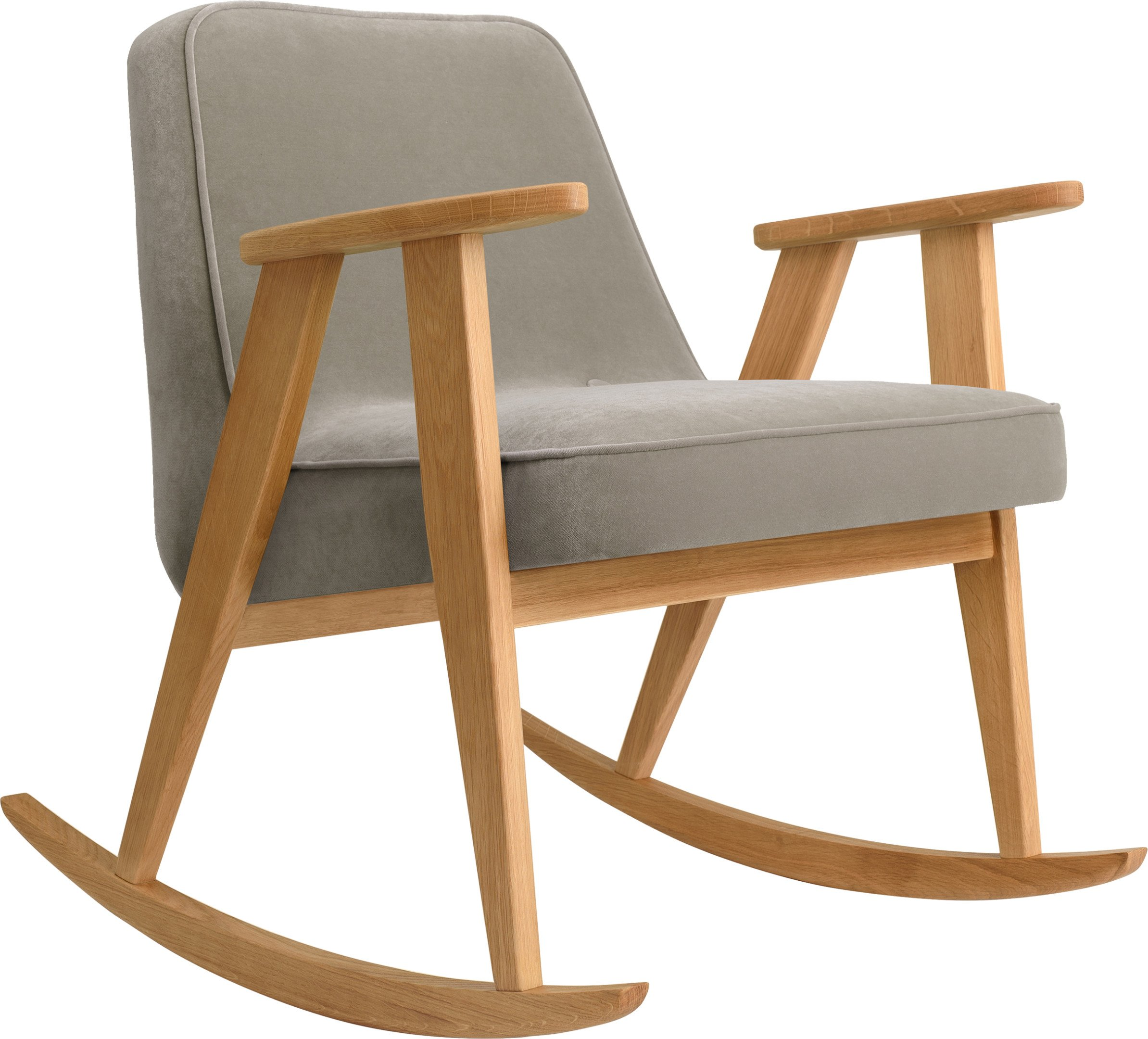 366 Rocking Chair Velvet Mouse Grey (natural oak) by Józef Chierowski